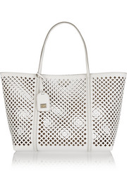 Escape medium perforated textured-leather tote