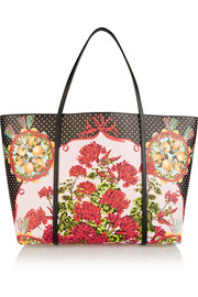Escape medium printed textured-leather tote