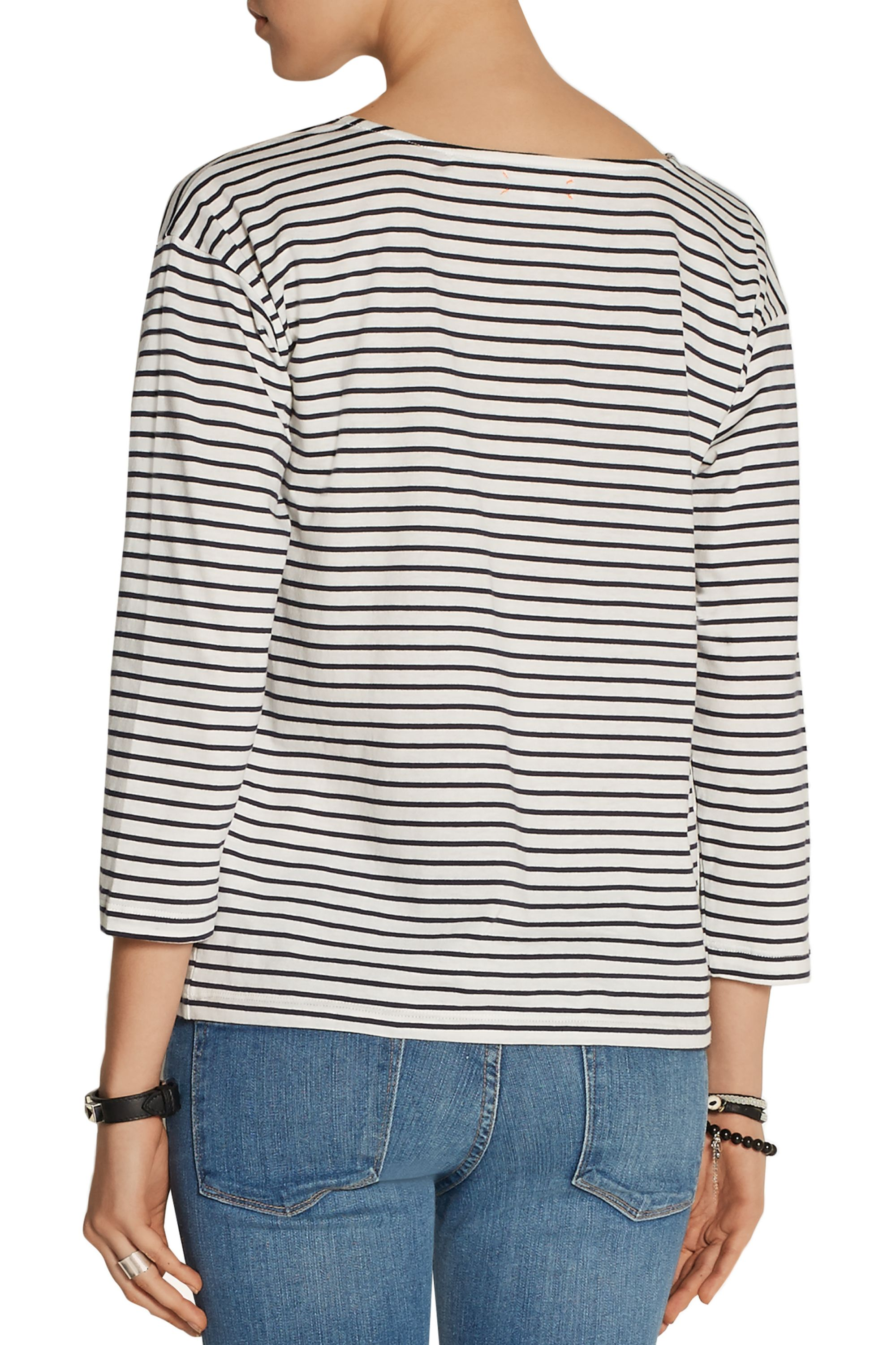 Chinti and Parker Heart-print striped organic cotton top