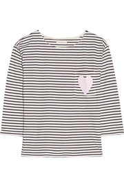 Heart-print striped organic cotton top
