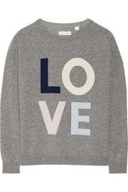 Love-intarsia wool and cashmere-blend sweater