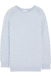 Aran-knit merino wool sweater