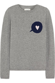 Speech Bubble-intarsia wool and cashmere-blend sweater