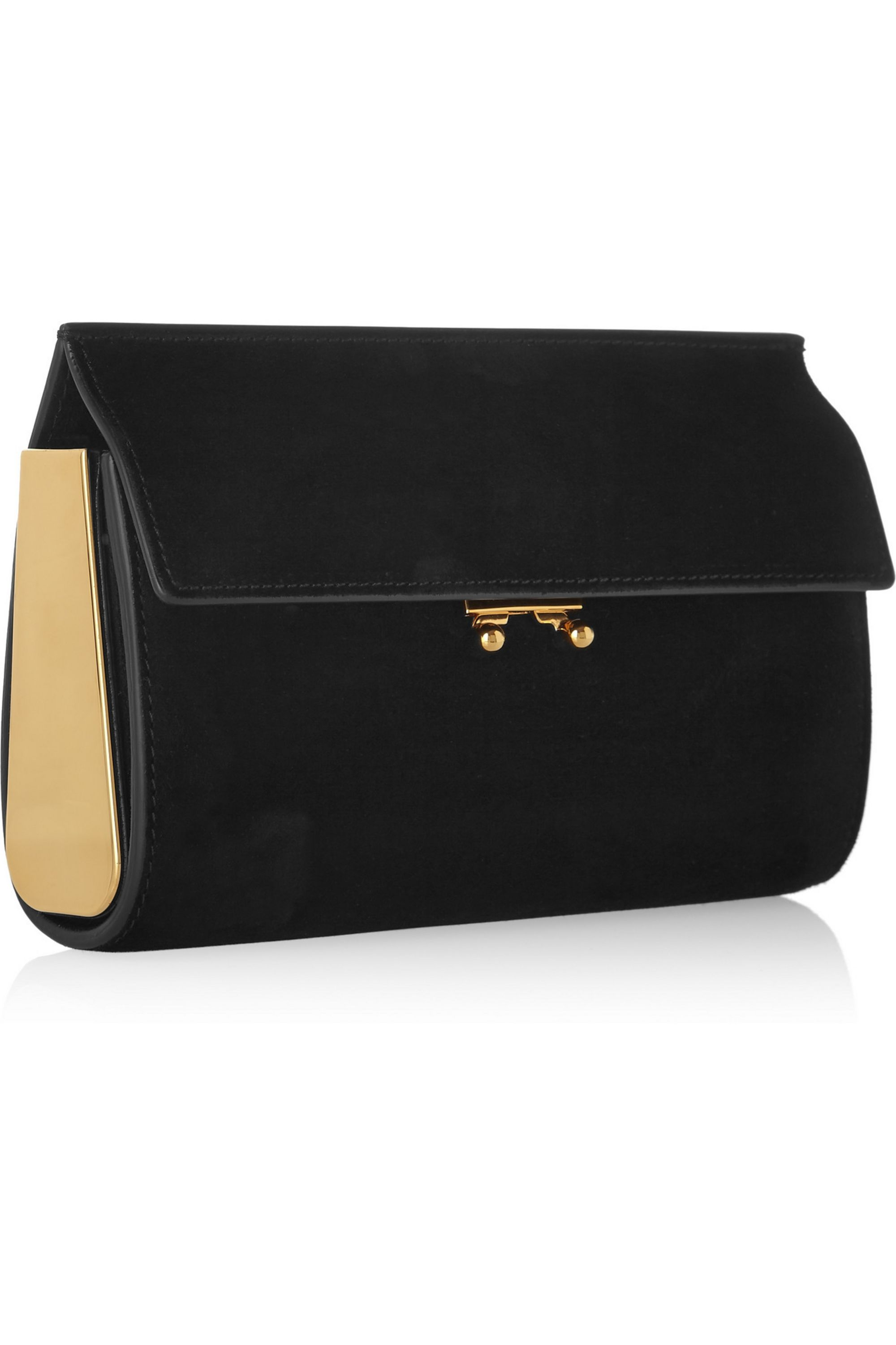 Marni Trunk suede clutch