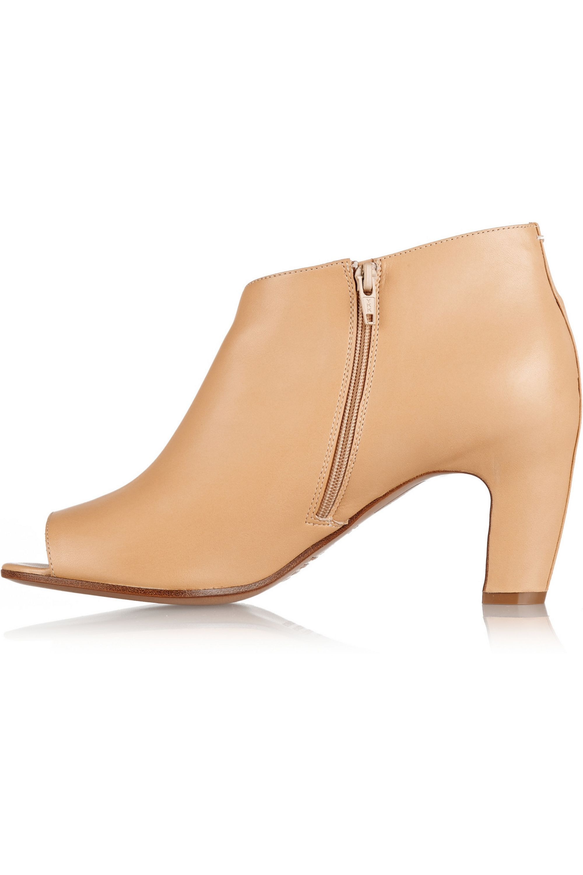 Beige Leather peep toe ankle boots