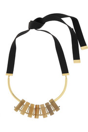 Gold-plated, horn and crystal necklace