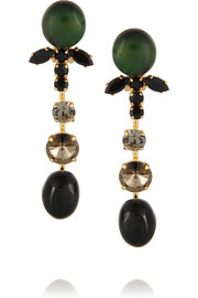 Gold-plated, crystal and horn clip earrings
