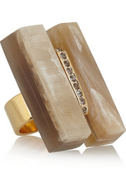 Marni Gold-plated, horn and crystal ring