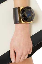 Marni Leather, resin and gold-plated cuff