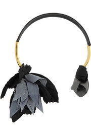 Gold-plated, leather and grosgrain necklace