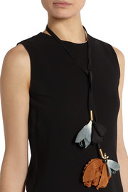 Marni Cotton-twill, crystal and horn necklace