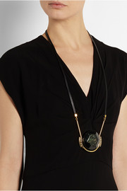 Marni Gold-plated crystal, resin and leather necklace