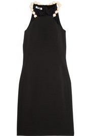 Bead-embellished stretch-crepe dress
