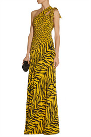 Moschino Cheap and Chic One-shoulder printed silk crepe de chine gown