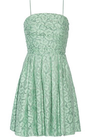 Boutique Moschino Gathered cotton-blend lace mini dress