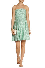 Moschino Cheap and Chic Gathered cotton-blend lace mini dress