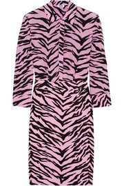 Tiger-print silk-chiffon and crepe shirt dress