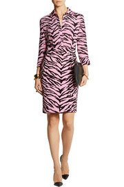 Moschino Cheap and Chic Tiger-print silk-chiffon and crepe shirt dress