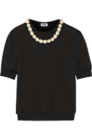 Boutique Moschino Bead-embellished wool and cotton-blend sweater
