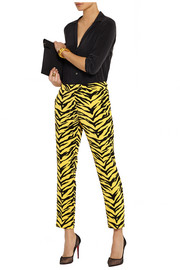 Animal-print crepe straight-leg pants