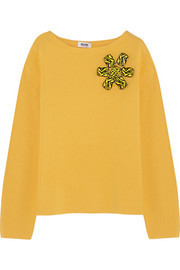 Embellished wool and cotton-blend sweater