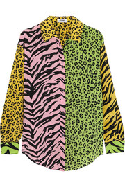 Patchwork animal-print silk shirt