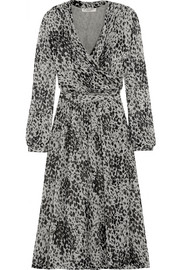 Leopard-print silk-chiffon wrap dress