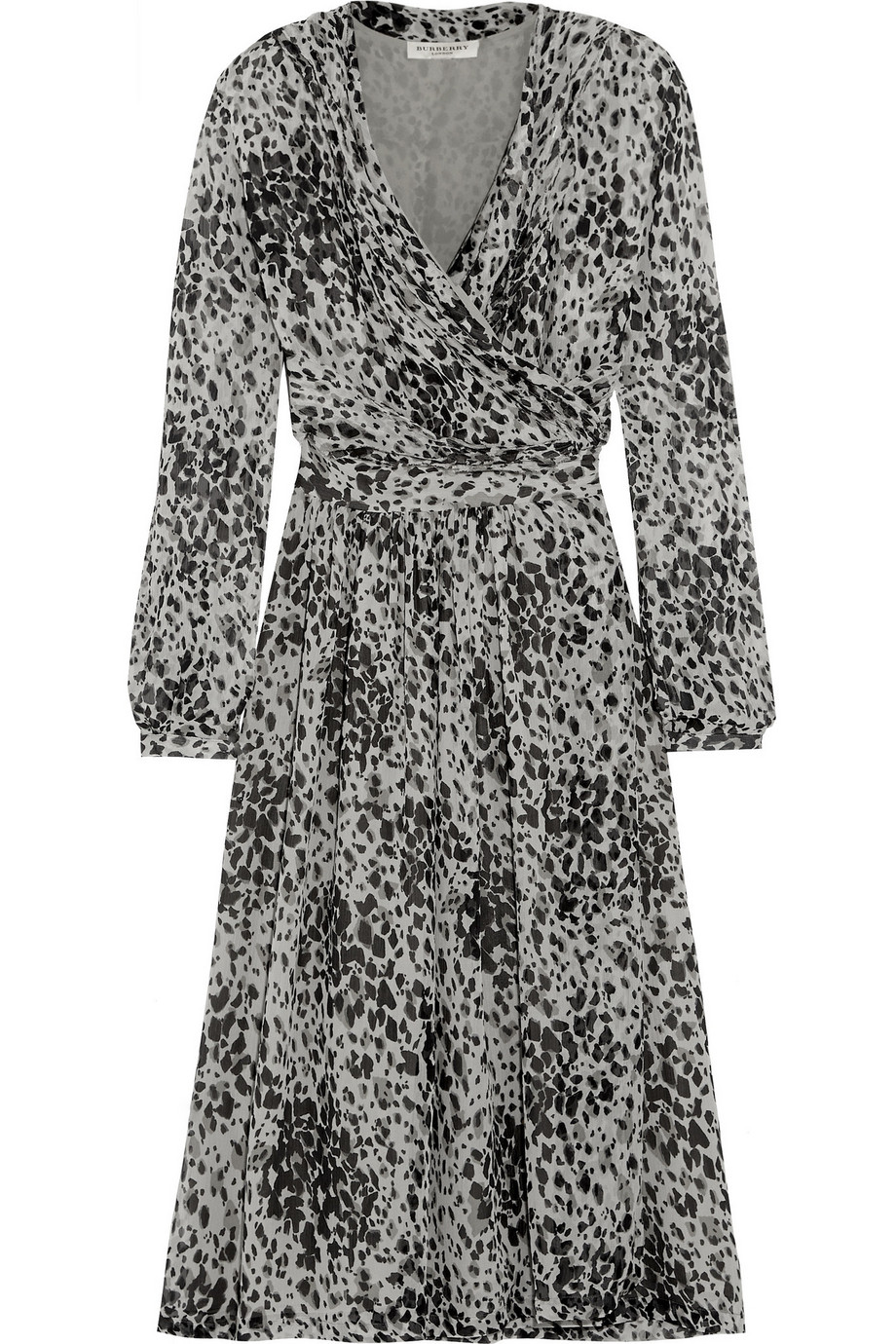 Burberry London Leopard-Print Silk-Chiffon Wrap Dress, Leopard Print, Women's - Leopard, Size: 10