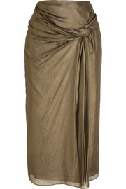 Draped metallic silk-crepe skirt