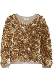 Sequined wool and cashmere-blend sweater