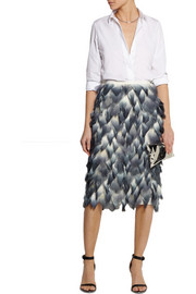 Burberry Prorsum Layered printed silk-chiffon midi skirt