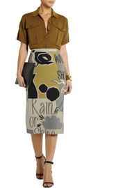 Burberry Prorsum Printed stretch-silk georgette pencil skirt