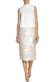 Paillette-embellished crepe midi skirt