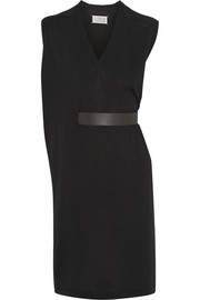 Belted wool and silk-blend dress