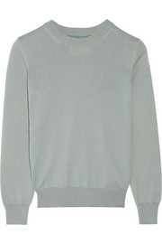 Silk chiffon-paneled cotton sweater