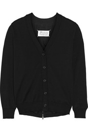 Maison Martin Margiela Silk chiffon-paneled cotton cardigan