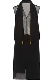 Maison Martin Margiela Draped silk-chiffon and cady dress