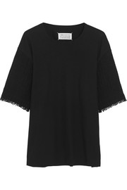 Mesh-paneled cotton-jersey T-shirt