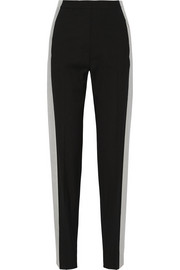 Flocked wool-blend twill tuxedo pants