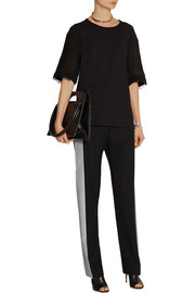 Maison Martin Margiela Flocked wool-blend twill tuxedo pants