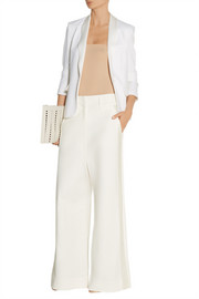 Maison Martin Margiela Satin-trimmed stretch-cotton twill wide-leg pants