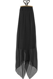 Maison Martin Margiela Embellished chiffon and cady maxi dress