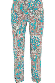 Cropped printed wool-crepe straight-leg pants