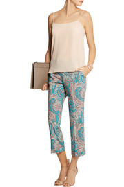 Etro Cropped printed wool-crepe straight-leg pants