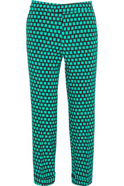 Cropped printed stretch-faille straight-leg pants