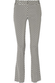 Printed stretch-crepe straight-leg pants
