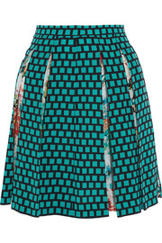 Pleated print silk-crepe skirt