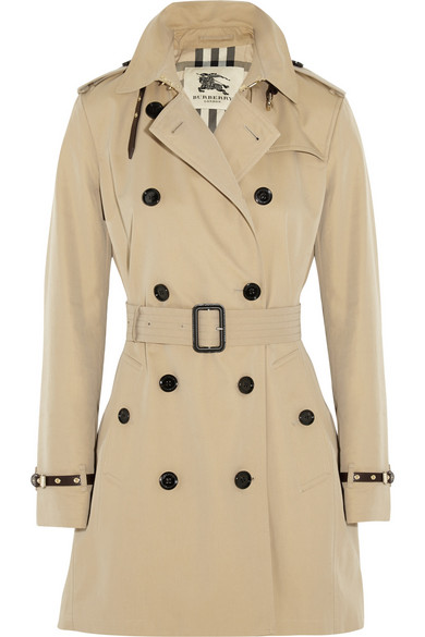 8f8d5e59f6ab Burberry. The Kensington Mid leather-trimmed cotton-gabardine trench coat
