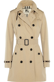 Burberry London Leather-trimmed cotton-gabardine trench coat
