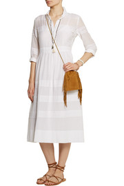 Pleated cotton-blend dress